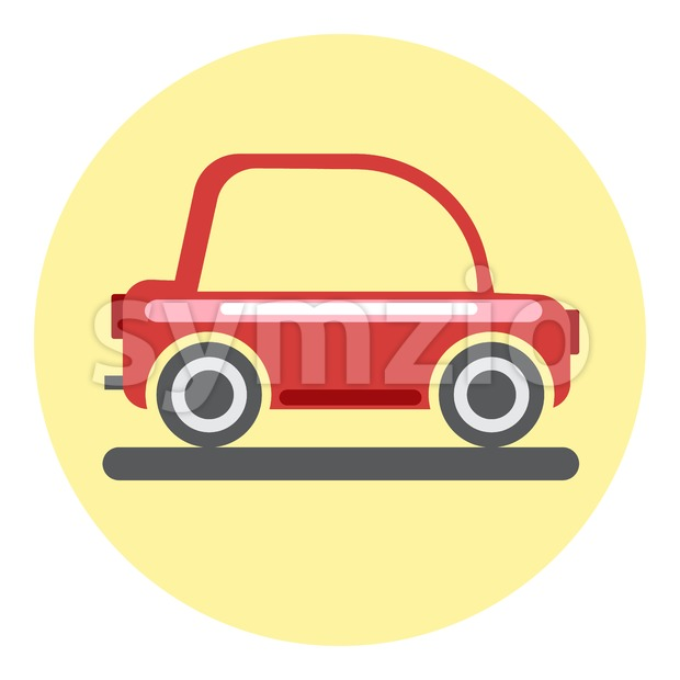 Digital vector red car icon on yellow circle, flat style. Stock Vector