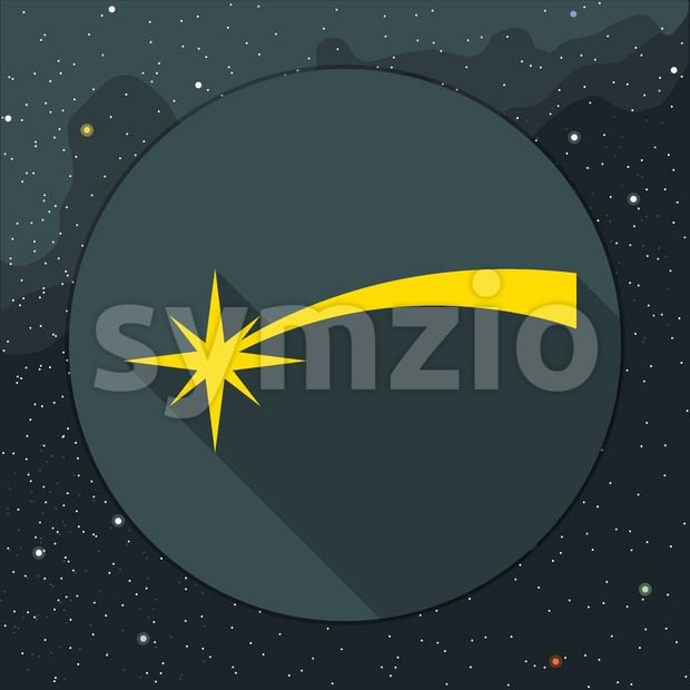 Digital vector yellow comet falling icon, over background with stars, flat style. Stock Vector