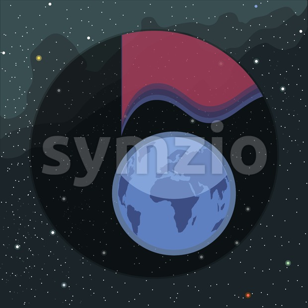 Digital vector planet earth icon with light spectrum, over stelar background, flat style. Stock Vector