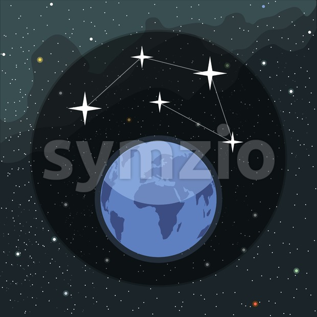 Digital vector planet earth icon with stars and constellation, over stelar background, flat style.
