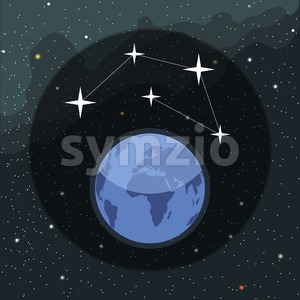 Digital vector planet earth icon with stars and constellation, over stelar background, flat style. Stock Vector