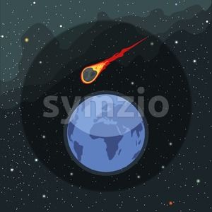 Digital vector planet earth icon with falling asteroid, over stelar background, flat style. Stock Vector