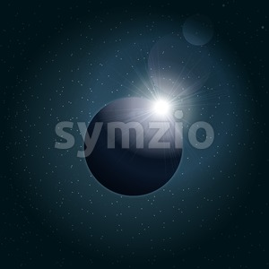 Digital vector planet earth icon with eclipse, over stelar background, flat style. Stock Vector