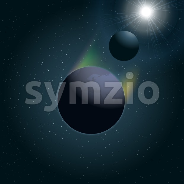 Digital vector planet earth icon with moon and sun eclipse, over stelar background, flat style. Stock Vector