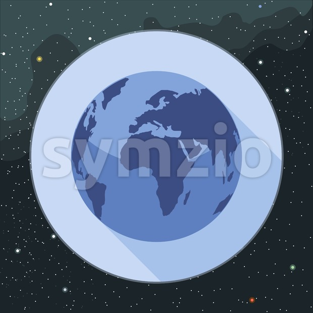 Digital vector planet earth icon, over stelar background, flat style. Stock Vector