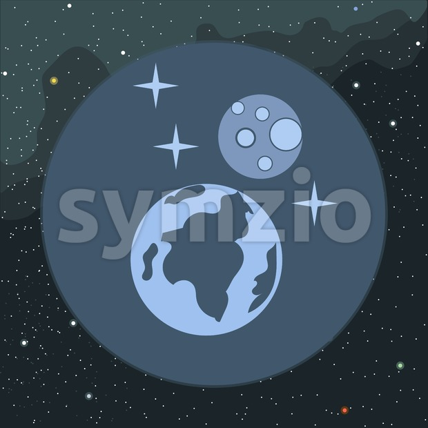 Digital vector planet earth icon with stars and moon, over stelar background, flat style. Stock Vector