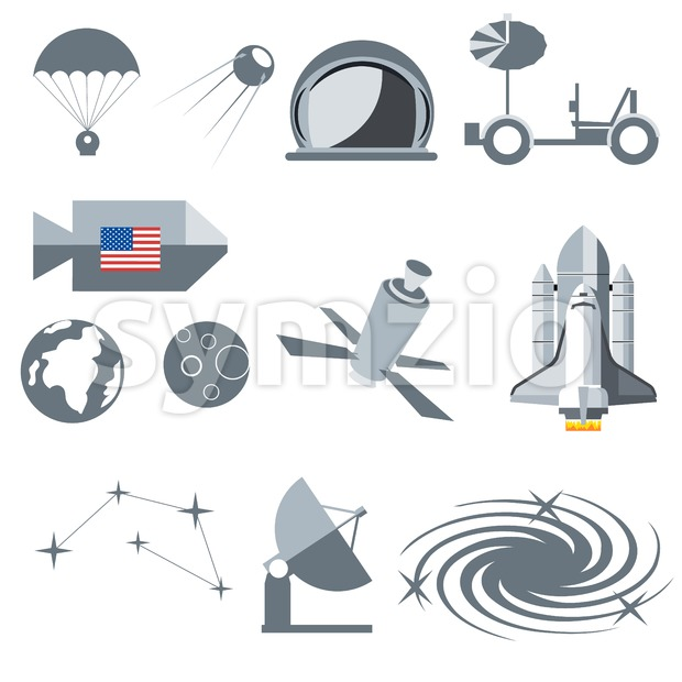 Digital vector silver cosmos icons set with space ship, planet earth, moon, galaxy and constellation over white background, flat style. Stock Vector