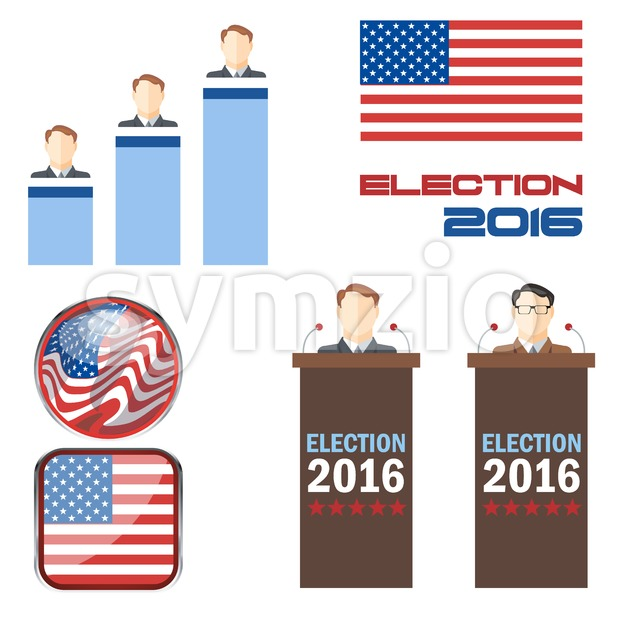 Digital vector election 2016 icon set with american flag, speakers, candidates, tribune and results over white background, flat style.