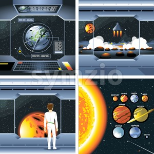 Digital vector silver cosmos ship icons set with solar system, shuttle dashboard, cosmonaut, rocket launch and empty space over stelar background, Stock Vector
