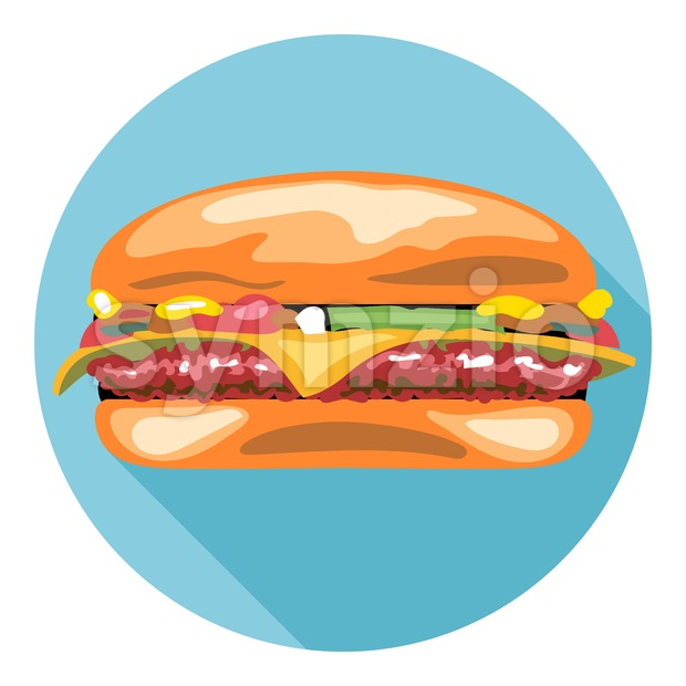 Digital vector tasty cheese burger in a blue circle, flat style.