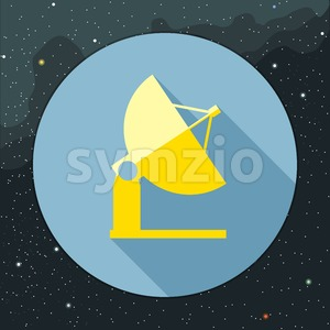 Digital vector with yellow space antenna icon, over background with stars, flat style Stock Vector