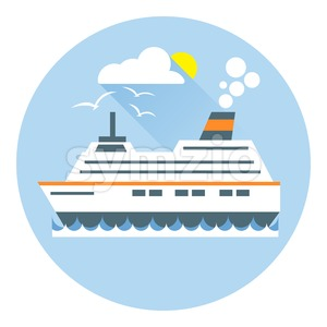 Digital vector with ocean ship boat icon with sun and birds, over white background with waves and water, flat style Stock Vector