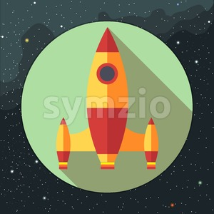 Digital vector with space rocket icon, over background with stars, flat style Stock Vector