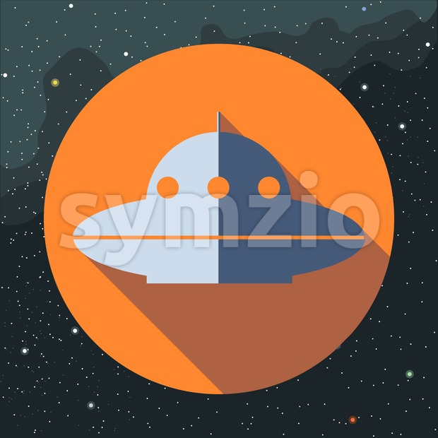 Digital vector with space ufo alien ship, over background with stars, flat style Stock Vector