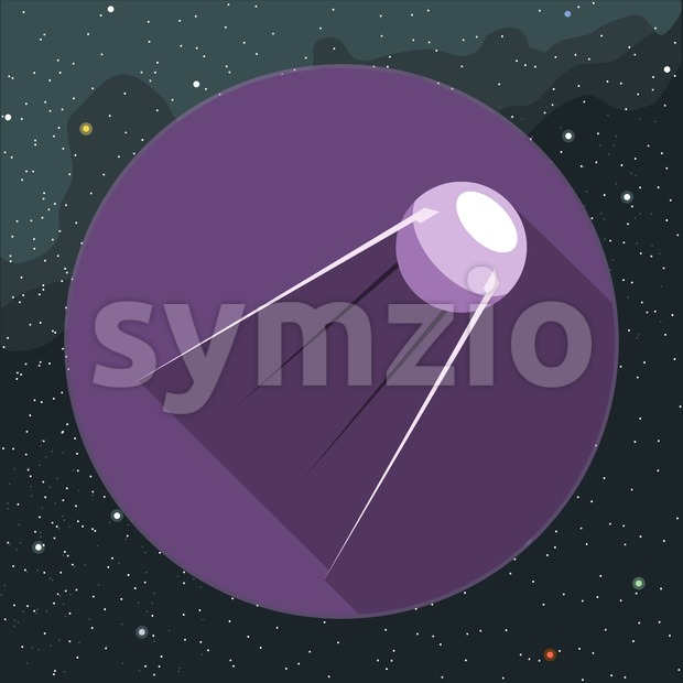 Digital vector with space satellite icon, over background with stars, flat style
