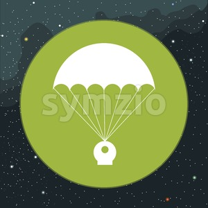 Digital vector with space capsule and parachute icon, over background with stars, flat style Stock Vector