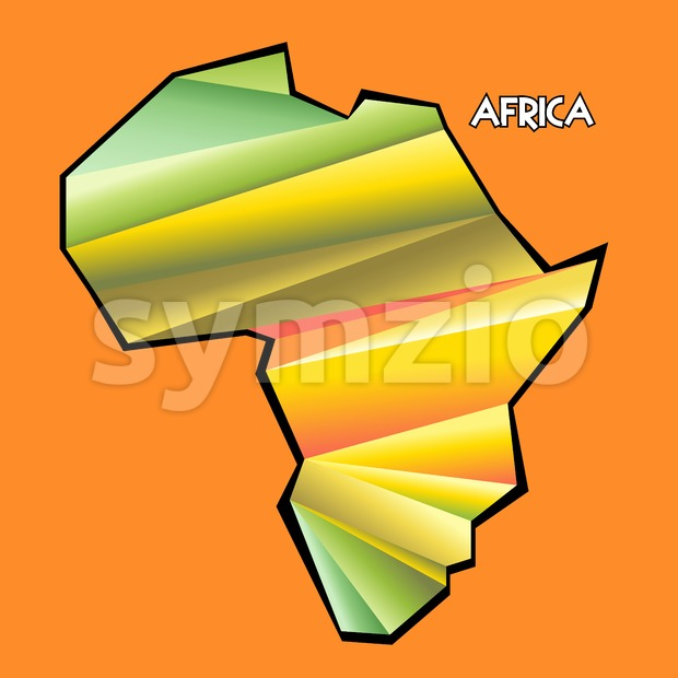 Digital vector africa map with abstract colored triangles and black outline, flat style