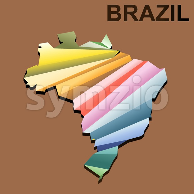 Digital vector brazil map with abstract colored triangles and black outline, 3d style Stock Vector