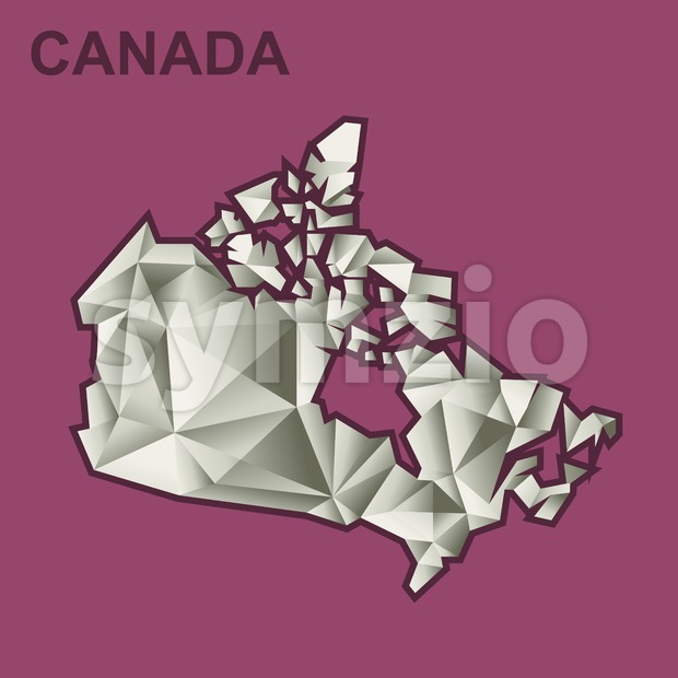 Digital vector canada map with abstract silver triangles and burgundy outline, flat style Stock Vector
