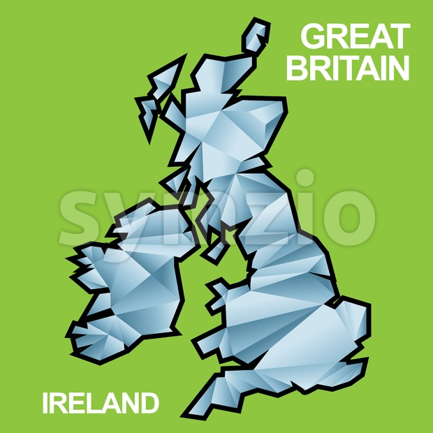 Digital vector great britain and ireland map with abstract blue triangles and black outline, flat style Stock Vector