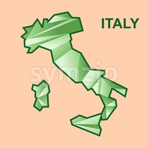 Digital vector italy map with abstract green triangles, flat style Stock Vector