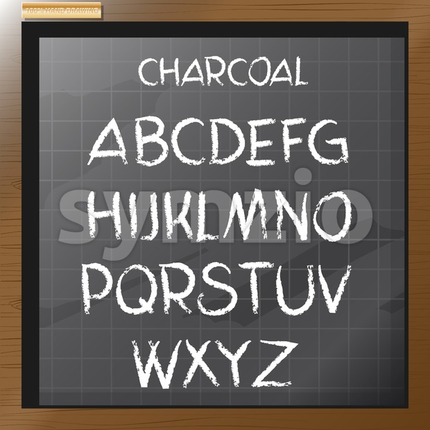 Digital vector charcoal hand drawn alphabet, on a blackboard with grid, flat style Stock Vector