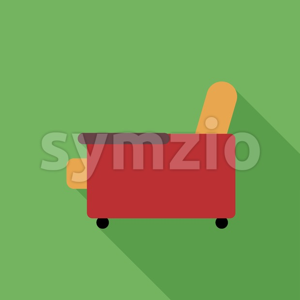 Digital vector orange and red armchair icon with shadow over green background, flat style