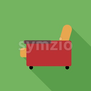 Digital vector orange and red armchair icon with shadow over green background, flat style Stock Vector
