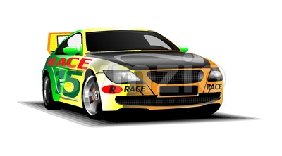 Digital vector colored sport race car, modern and realistic, front view Stock Vector
