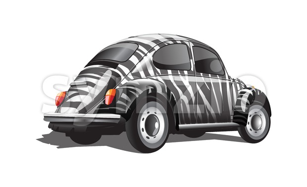 Digital vector zebra strips colored retro realistic car, back view Stock Vector