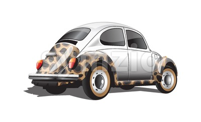 Digital vector colored retro realistic car, back view Stock Vector