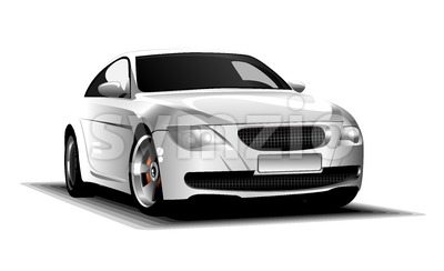 Digital vector white and silver sport race car, modern and realistic, front view Stock Vector
