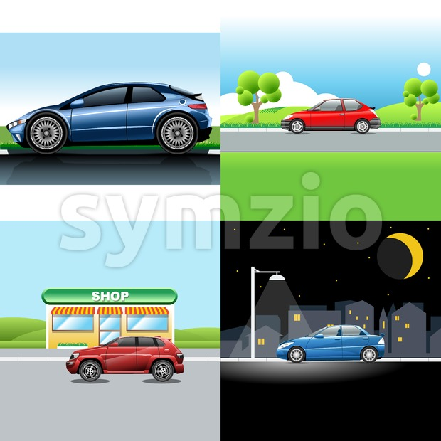 Digital vector red and blue auto car icon set, sport car on road, shop, and in the night. Stock Vector
