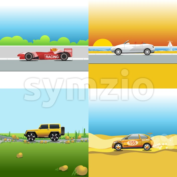 Digital vector red, orange and silver auto car icon set, sport car on road, shop, sun and seaside, suv and racing. Stock Vector