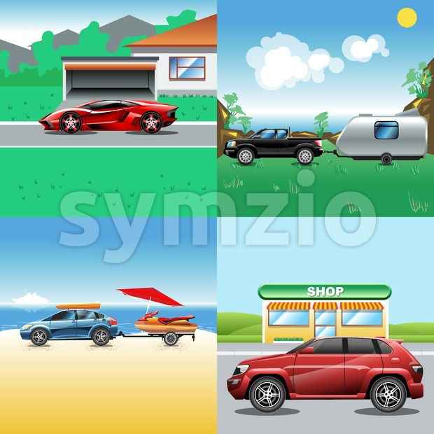 Digital vector red, blue, red and black auto car icon set, sport car on road, shop, sand and seaside, suv and racing. Stock Vector