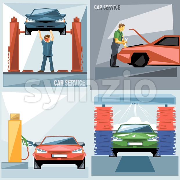 Digital vector blue, green and red auto service car icon set, mechanic fixing, washing and fueling, flat style.
