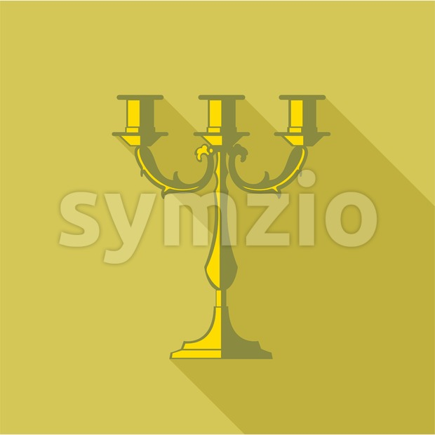 Digital vector candlestick with shadow over dark yellow background, flat style Stock Vector