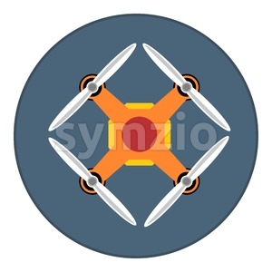 Digital vector orange drone with recording camera, in dark circle, flat style Stock Vector