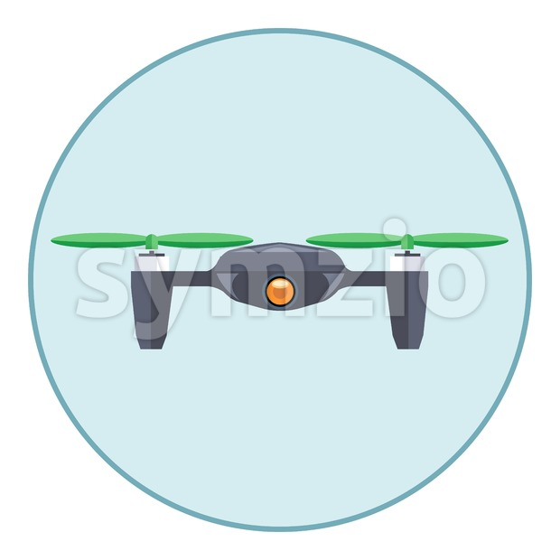 Digital vector silver drone with recording camera, in blue circle, flat style Stock Vector