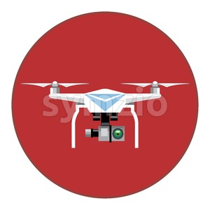 Digital vector white drone with recording camera, in red circle, flat style Stock Vector
