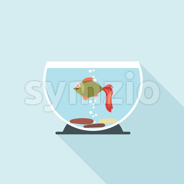 Digital vector fish in aquarium with oxygen bubbles over blue background, flat style Stock Vector
