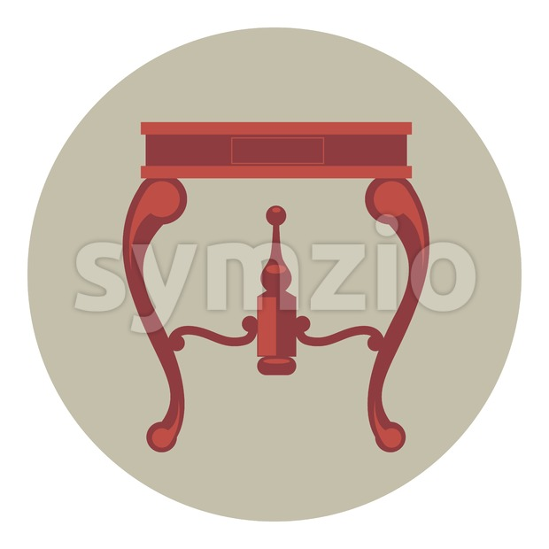 Digital vector red vintage table isolated, flat style Stock Vector