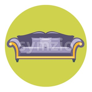 Digital vector purple sofa with pills over green circle isolated, flat style Stock Vector