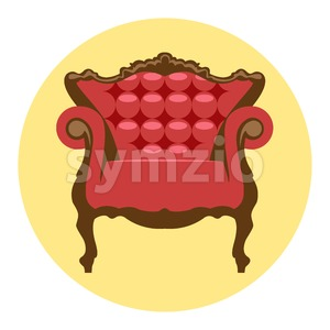 Digital vector red and brown vintage chair over yellow background isolated, flat style Stock Vector