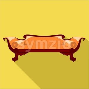 Digital vector orange sofa with round pillows over yellow background isolated, flat style Stock Vector