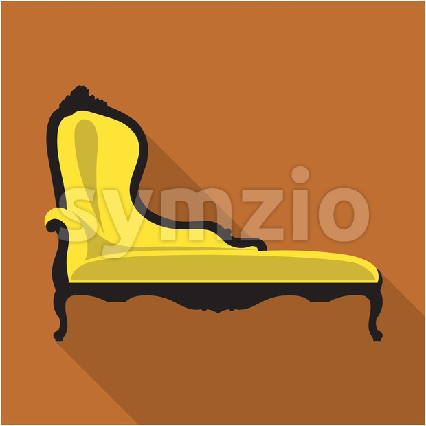 Digital vector vintage black and yellow sofa over brown background isolated, flat style Stock Vector