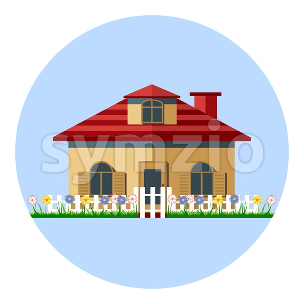 Digital vector house icon with garden, flowers and green grass, red roof in stripes, flat style Stock Vector