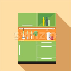 Digital vector picture green and orange kitchen set, flat style Stock Vector