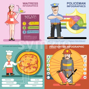 Digital vector infographics icon set, waitress, kitchen and pizza, police and firefighter, flat style Stock Vector