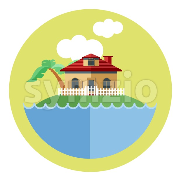 Digital vector land with water, a house, palm tree and clouds, flat style Stock Vector